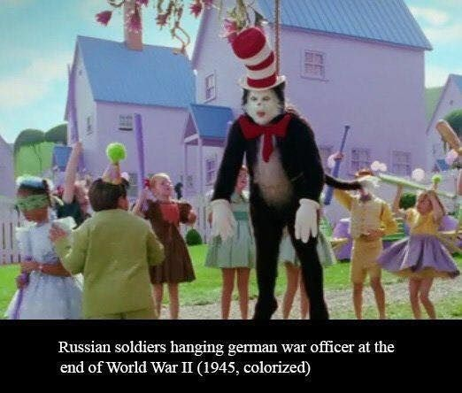 Animated cartoon - Russian soldiers hanging german war officer at the end of World War II (1945, colorized)