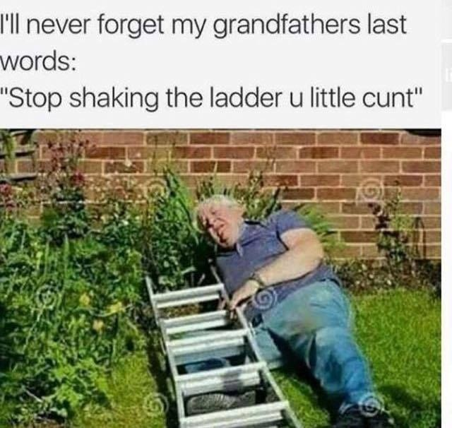 "Lawn - I'll never forget my grandfathers last words: ""Stop shaking the ladder u little cunt"""