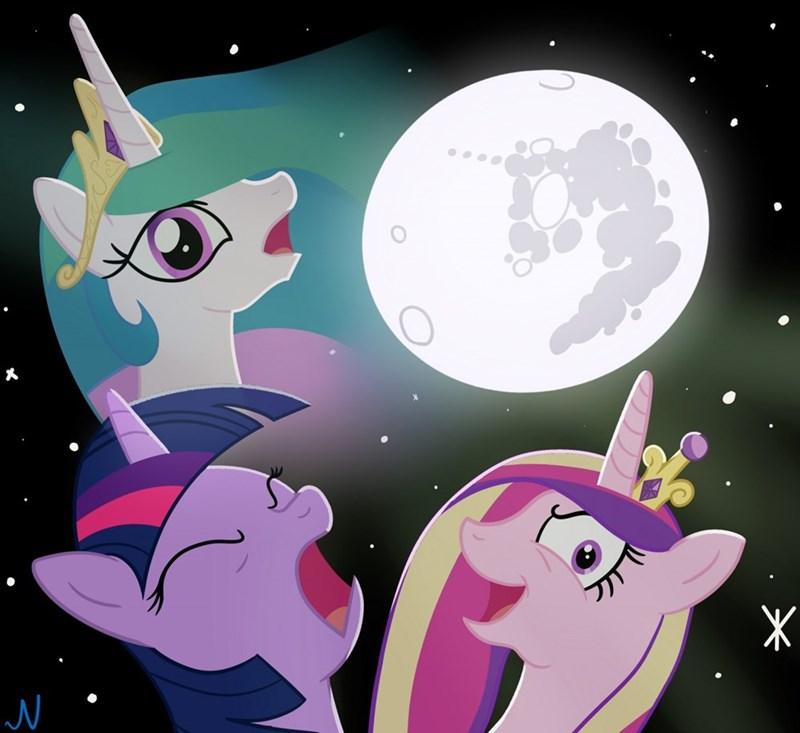 princess cadence,twilight sparkle,ponify,princess celestia,three wolf moon