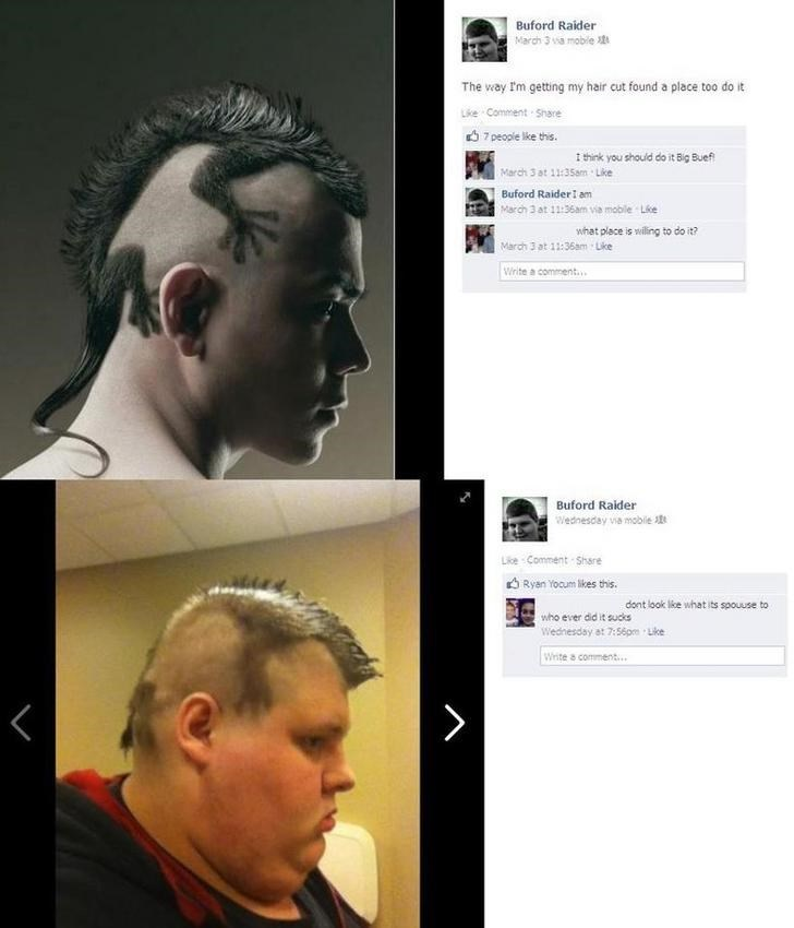 guy posting on facebook that he's going for a haircut then shares the cringey result