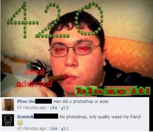 cringey 420 facebook pic of a guy with photoshopped red eyes