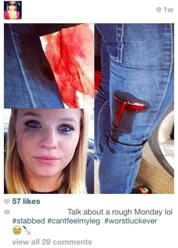 cringeworthy photo collage of a girl that got stabbed