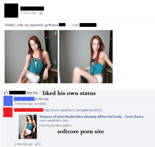 cringey facebook post by a guy sharing pics from a porn site