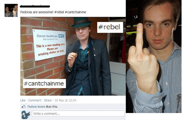 cringey pic of a fedora wearing rebel smoking in a non smoking area