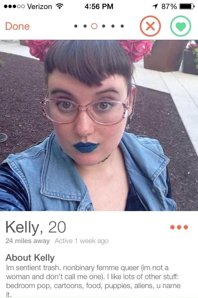 cringe tinder profile of a nonbinary person with bangs