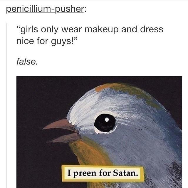 """Bird - penicillium-pusher: """"girls only wear makeup and dress nice for guys!"""" false. I preen for Satan"""