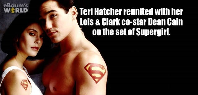 Male - eBaum's WORLD Teri Hatcher reunited with her Lois & Clark co-star Dean Cain on the set of Supergirl.