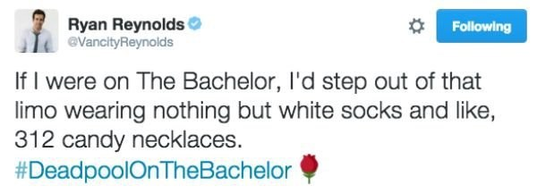 Text - Ryan Reynolds @VancityReynolds Following If I were on The Bachelor, I'd step out of that limo wearing nothing but white socks and like, 312 candy necklaces. #DeadpoolOnTheBachelor