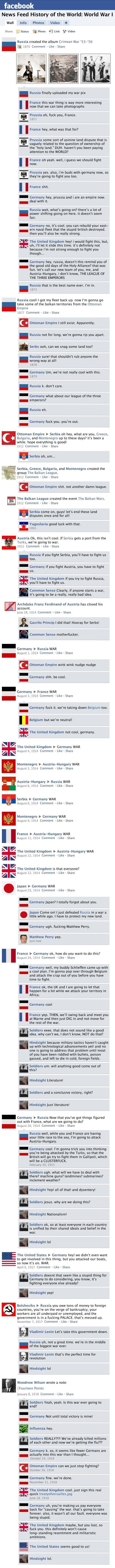 world war i as facebook comments