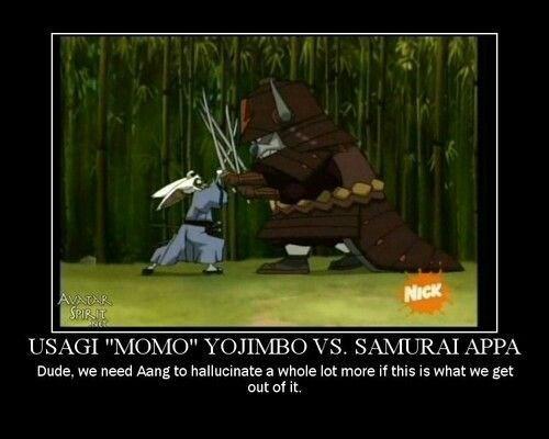"Cartoon - NICK AVAAR SPIRIT USAGI ""MOMO"" YOJIMBO VS. SAMURAI APPA Dude, we need Aang to hallucinate a whole lot more if this is what we get out of it"