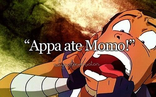 Animated cartoon - Appa ate Momo! ackpaselsvtator