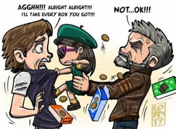 Cartoon - AGGHH!!! ALRIGHT ALRIGHT!! NOT...Ok!!! LL TAKE EVERY BOx YOU GOT!!