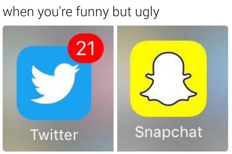 Text - when you're funny but ugly 21 Snapchat Twitter