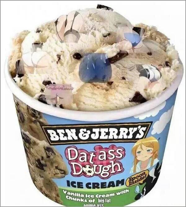 Ice cream - BEN&JERRY'S Darass Deugh ICE CREAM Vanilla Ice cream Chunks of big fat animeass sides with