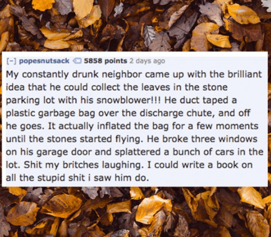 Leaf - [- popesnutsack My constantly drunk neighbor came up with the brilliant 5858 points 2 days ago idea that he could collect the leaves in the stone parking lot with his snowblower! !! He duct taped a plastic garbage bag over the discharge chute, and off he goes. It actually inflated the bag for a few moments until the stones started flying. He broke three windows on his garage door and splattered a bunch of cars in the lot. Shit my britches laughing. I could write a book on all the stupid s