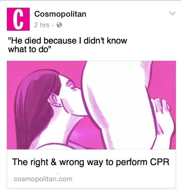 """Text - Cosmopolitan 2 hrs """"He died because I didn't know what to do"""" The right & wrong way to perform CPR cosmopolitan.com"""