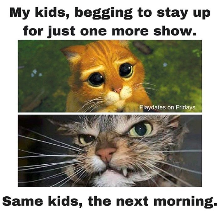 Photo caption - My kids, begging to stay up for just one more show. Playdates on Fridays Same kids, the next morning.