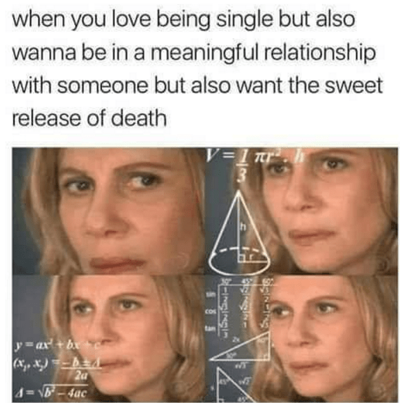 Face - when you love being single but also wanna be in a meaningful relationship with someone but also want the sweet release of death V=1 tr Cos a y=ax+b x.,,&)b 4-16-4ac gncihg INGINOI