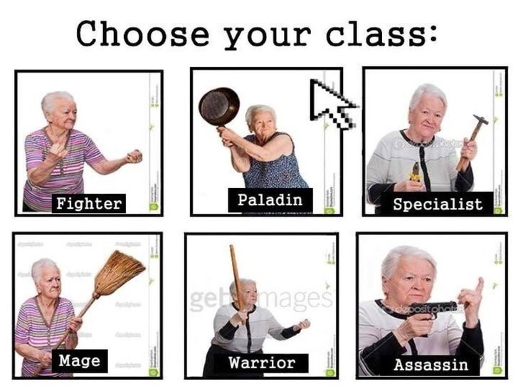 Photo caption - Choose your class: Paladin Fighter Specialist gebmages Mage Warrior Assassin