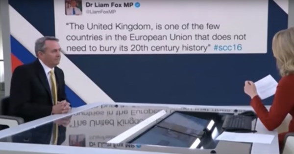 fail video british politician liam fox denies tweet