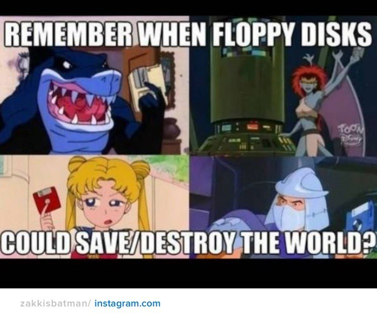 nostalgia - Cartoon - REMEMBERWHEN FLOPPY DISKS TOCN COULD SAVE/DESTROY THE WORLD? zakkisbatman/ instagram.com