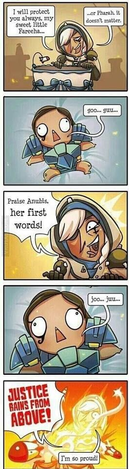 Comics - I will protect you always, my sweet little Fareeha... or Pharah, It doesn't matter. goo... guu... Praise Anubis her first Words! joo.. juu.. JUSTICE GAINS FROM ABOVE! Im so proud!