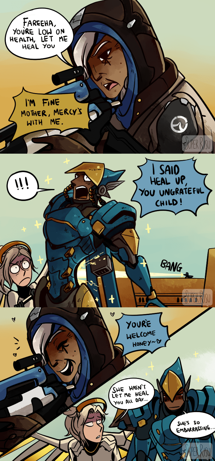 Cartoon - FAREEHA YOURE LOW ON HEALTH, LET ME HEAL YOU IM FINE MO THER, MERCYS WITH ME MER RAD SAID HEAL UP, You UNGRATEFUL I!! CHILD! BANG V YOURE HELCOME HONEY Y SHE HASN T LET Me HEAL You ALl DAY.. SHES So EMBARRASSING.