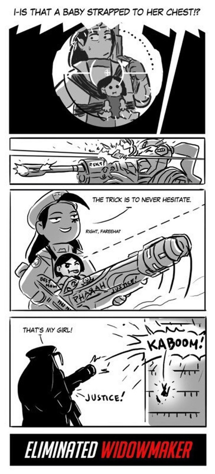 Cartoon - -IS THAT A BABY STRAPPED TO HER CHEST!? REKT! THE TRICK IS TO NEVER HESITATE RIGHT, FAREEHAZ BEST MOM V3 nCE PHASAH PHU THAT'S MY GIRL! KABOOM! TIT JUSTICE! ELIMINATED WIDOWMAKER