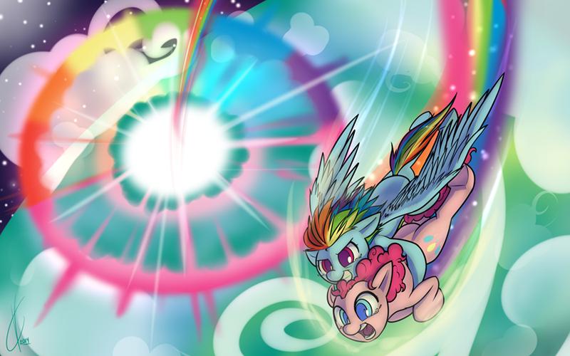 dreatos pinkie pie sonic rainboom rainbow dash - 9018309888