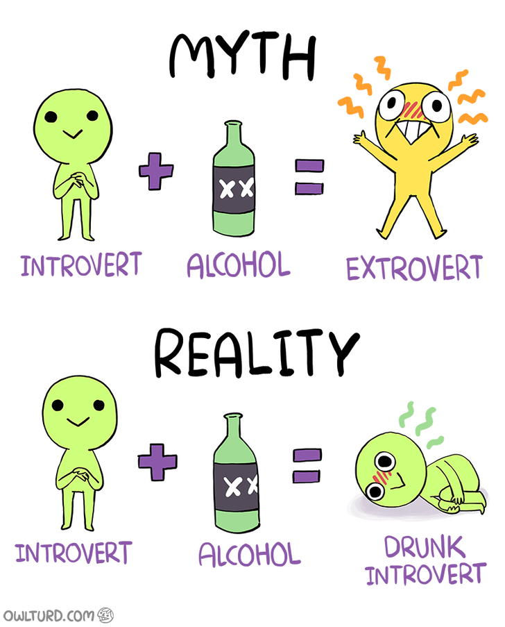 meme - Green - MYTH XX INTROVERT ALCOHOL EXTROVERT REALITY X DRUNK INTROVERT INTROVERT ALCOHOL OWLTURD.COM