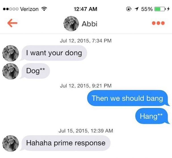 Girl tells guy she wants his dong, but meant dog, and he writes back we should bang, meaning hang.