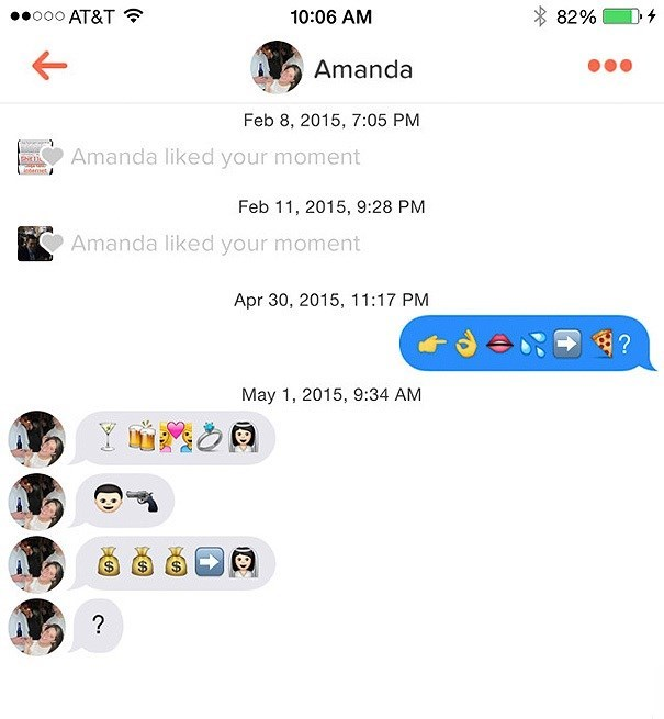 Amanda asks question using Emojis