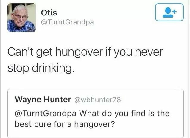 Text - Otis @TurntGrandpa Can't get hungover if you never stop drinking. Wayne Hunter @wbhunter78 @TurntGrandpa What do you find is the best cure for a hangover?