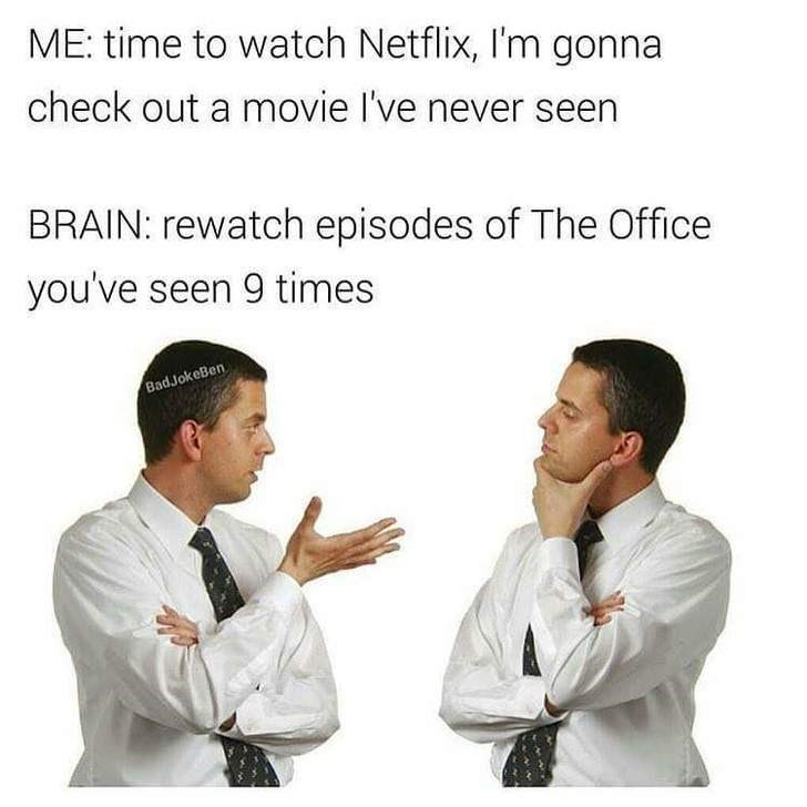 Text - ME: time to watch Netflix, I'm gonna check out a movie I've never seen BRAIN: rewatch episodes of The Office you've seen 9 times BadJokeBen