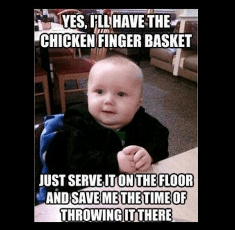 meme about putting floor on the food for babies