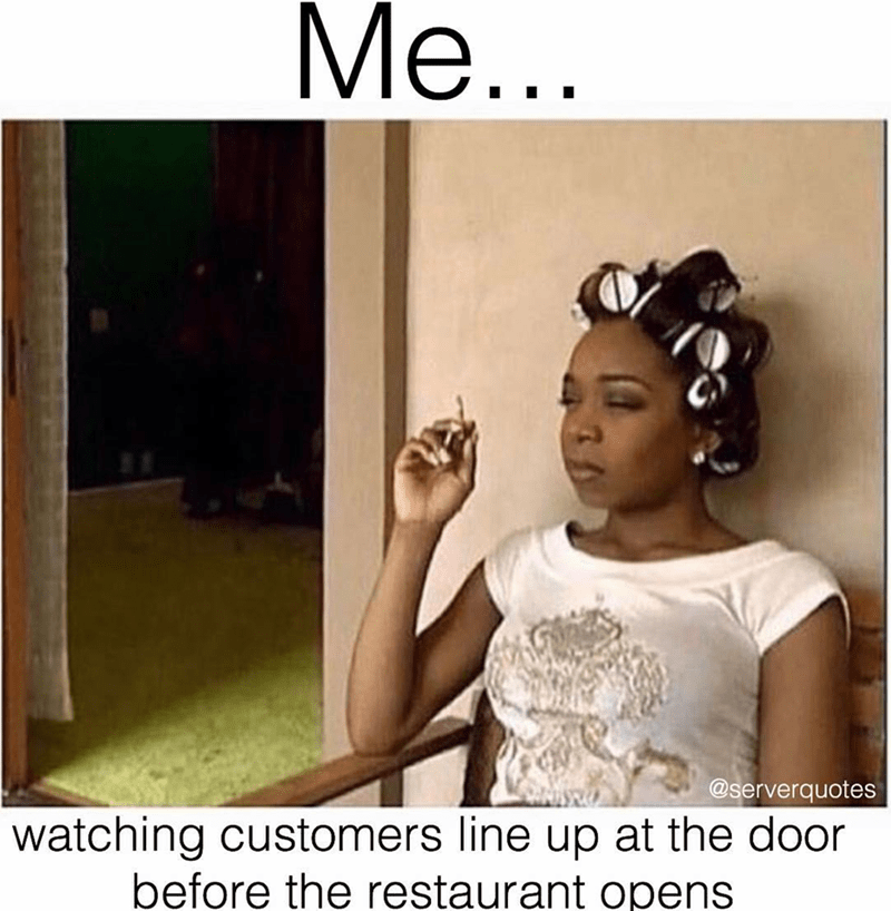 meme about watching casually the line of people before the doors open