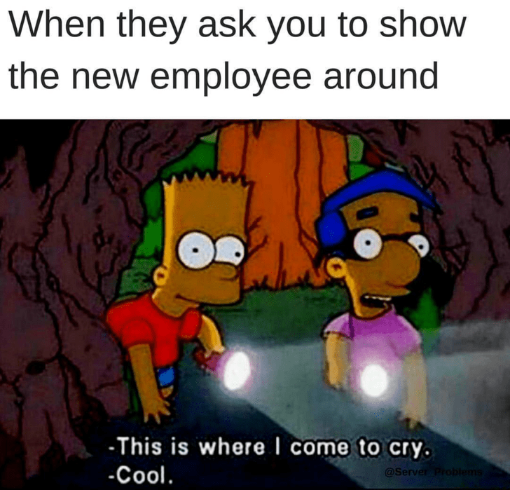 meme about showing a new employee around