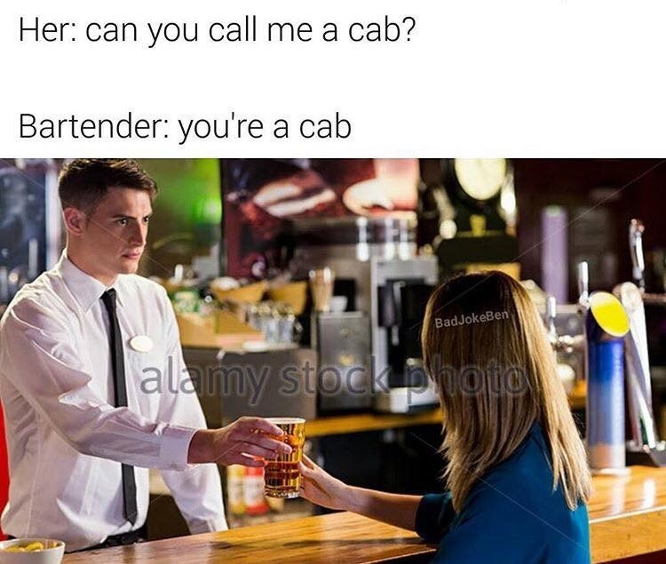 Thursday meme about taking things literally with pic of bartender handing a drink