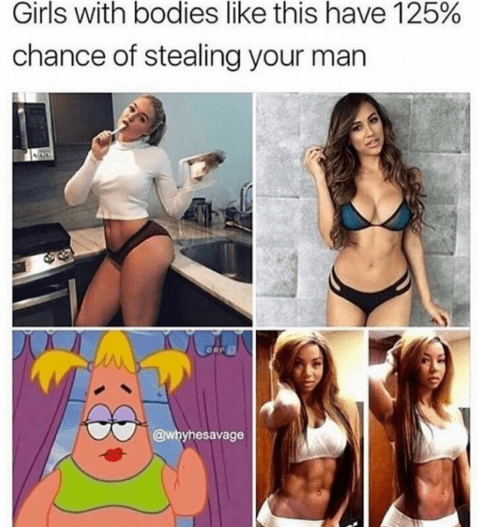 Thirsty Thursday meme with pics of hot girls, one of them is Patrick in drag