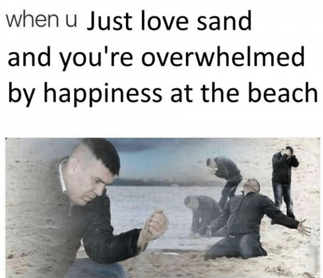 Thursday meme with pics of guy making different poses at the beach