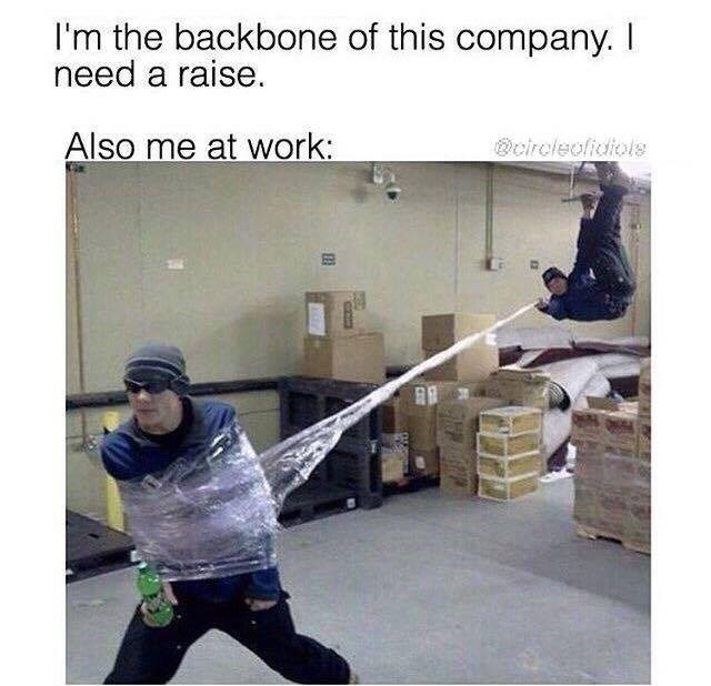 Sunday meme about fooling around at work with staged pic of a guy with Spider Man powers