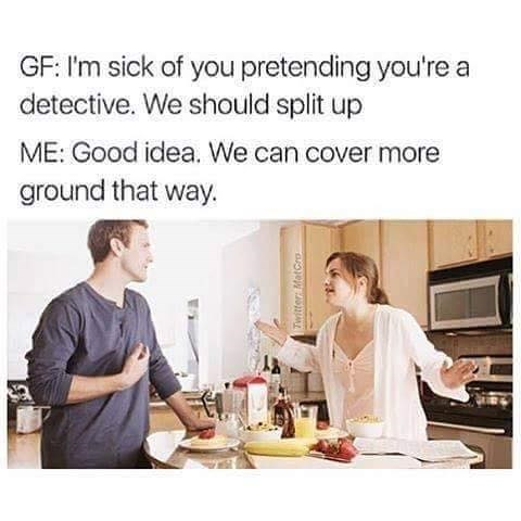 Sunday meme about dating a detective
