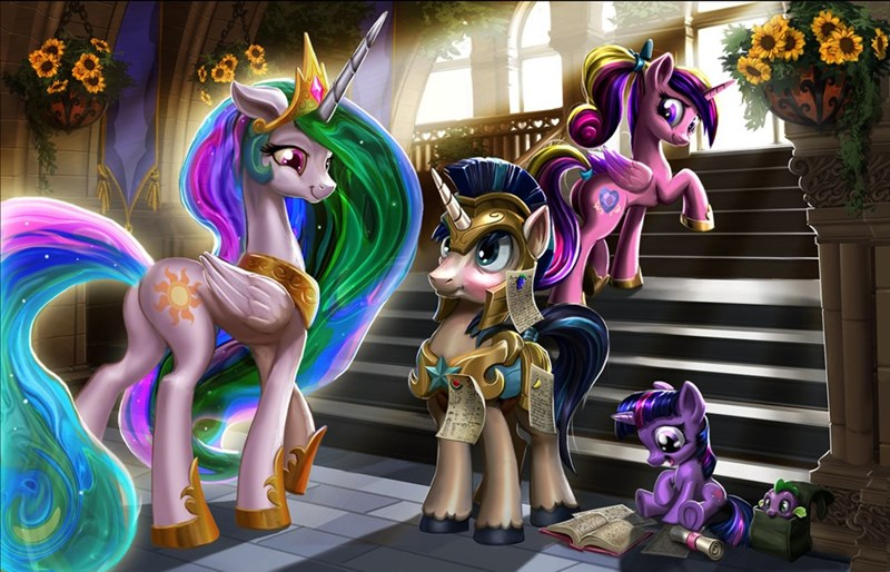 harwick's art,princess cadence,twilight sparkle,shining armor,princess celestia