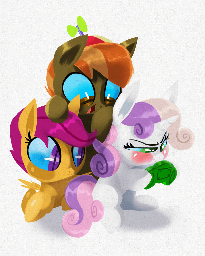 Sweetie Belle,Scootaloo,button mash,talons of ice and fire