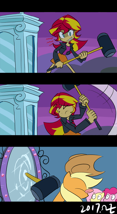 applejack,equestria girls,rvceric,pinkie pie,comic,sunset shimmer,fluttershy