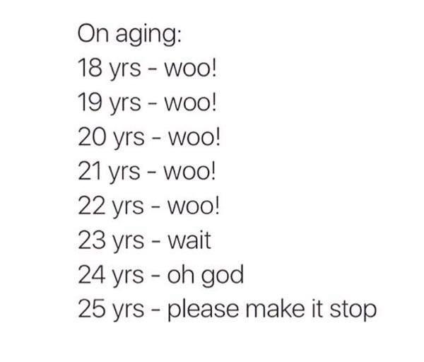 Text - On aging: 18 yrs woo! 19 yrs - woo! 20 yrs - woo! 21 yrs - woo! 22 yrs - woo! 23 yrs - wait 24 yrs oh god 25 yrs - please make it stop