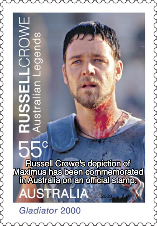 Text - 55 Russell Crowe's depiction of Maximus has been commemorated in Australia on an official stamp AUSTRALIA 2009 Gladiator 2000 RUSSELLCROWE Australian Legends