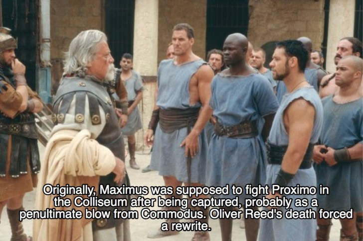 People - Originally, Maximus was supposed to fight Proximo in the Colliseum after being captured, probably as a penultimate blow from Commodus.Oliver Reed's death forced a rewrite.