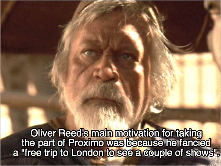 """Photo caption - Oliver Reed's main motivation for taking the part of Proximo was because he fancied a """"free trip to London to see a couple of shows"""""""