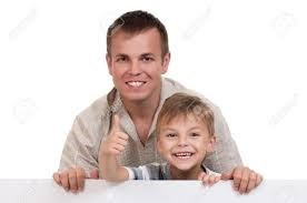 Child and man smiling doing thumbs up